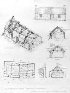 Drawing showing isometric view, thatched and reconstructed South elevation, sections and plan. Insc. 'Cruck-Framed Cottage, Torthorwald, Dumfriesshire. Surveyed 5.8.70, G.D.H., G.S.'