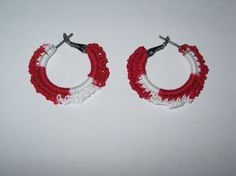 Red and White LaceLike Crochet Earrings by DoreenHookedIt on Etsy, $8.00