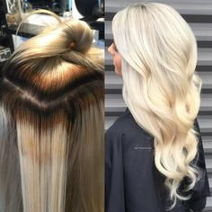 """My client came in with banded color with goals of being a clean icy blonde,"" says Monika Quatrano (@hairbymonika.q) of Filomena Salon in Coquitlam, BC, ""I created this look by using a back to back foiling technique."" Here she shares the HOW TO: STEP 1: To the roots, through the bands, apply Schwarzkopf Vario extra power with 20 volume (2:1) 2 parts developer to one part lightener. STEP 2 1: To the blotched blonde ends apply Schwarzkopf vario extra power with 5 volume, again 2:1."