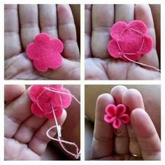 DIY cute felt flowers purple cDIY cute felt flowers purple cHow to make mini felt flowers from Kerryanne in the Shabby Art Boutique.How to make mini felt flowers from Kerryanne in the Felt Diy, Felt Crafts, Fabric Crafts, Sewing Crafts, Diy Crafts, Handmade Flowers, Diy Flowers, Fabric Flowers, Paper Flowers