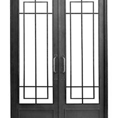 Puerta de hierro modelo Sara: Casas de estilo moderno por DEL HIERRO DESIGN Grill Gate Design, Window Grill Design Modern, Window Design, Glass Front Door, Glass Door, Modern Windows And Doors, Steel Security Doors, Security Gates, Window Bars