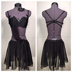 """For Alexia: """"Lost It to Trying"""" - A beautiful black, custom, contemporary, 2 piece dance costume with sparkle in all the right places."""