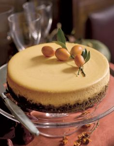 A Thanksgiving surprise: Pumpkin pie becomes a cheesecake with this Pumpkin-Goat Cheese Cheesecake.