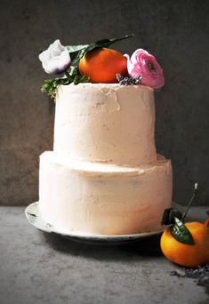 Mandarin & Lemon Cake with Cream Cheese Frosting ; fruit ; citrus ; orange ; buttermilk ; heavy cream