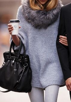 This Michael Kors fur neck sweater will be hanging in my closet. Love!!