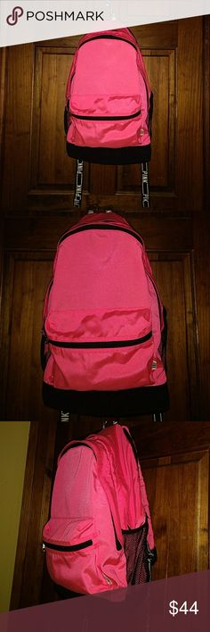 "Victoria's Secret Pink Nation Campus Backpack Victoria's Secret Pink Nation Campus Backpack Neon Hot Pink  Front Small Zipper Pocket 2 Large Zipper Compartments Padded For Laptop Water Bottle Pockets Adjustable Shoulder Straps  Measurements 18"" Height 12"" Length 8"" Wide  Pre-Owned Gently Used PINK Victoria's Secret Bags Backpacks"