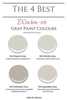 The best warm gray paint colours that are almost greige, Sherwin Williams. Color Consultant Kylie M Interiors E-Design and Decor