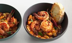 Garlic shrimp with cannelli beans