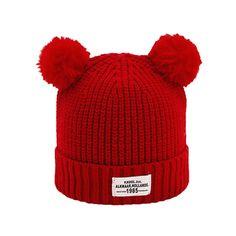 7355c9d75fe Littleice Baby Kids Winter Autumn Knitted Cotton Hats Boys Girls Ball Cap  Letter Warm Wool Hemming