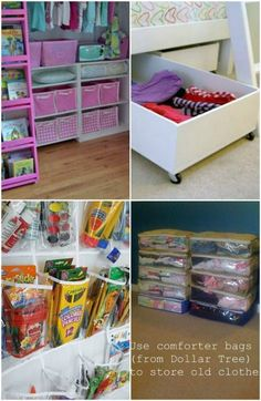 OMG-I want to go to the Dollar Store right now. Cheap and Easy Organization for Outgrown Clothing - 150 Dollar Store Organizing Ideas and Projects for the Entire Home Organisation Hacks, Storage Organization, Organizing Ideas, Shoe Organizer, Clothing Organization, Craft Storage, Organizing School, Creative Storage, Creative Decor