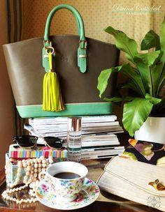 Picnic Bag en taupe x menta + neon by DCH www.divinacastidadhandbags.com