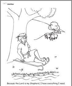 A number of coloring pages for 1 Samuel 16 and Psalm 23