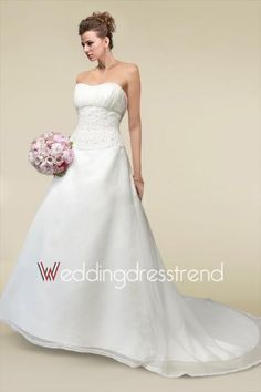 Draped Beaded Strapless Chapel Train A-line Wedding Dress with Buttons