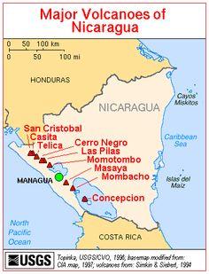 Map, Major Volcanoes of Nicaragua