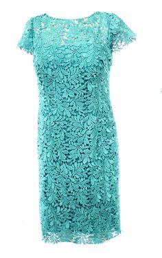 Patra NEW Blue Teal Open Back Crochet Lace Women's Size 6 Sheath Dress $249