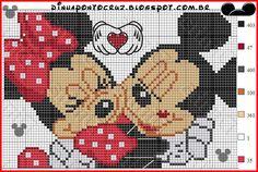 Minnie and Mickey Mouse pattern - Dinha Ponto Cruz