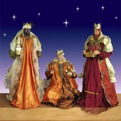 Life Size Three Kings-Life Size Nativity Three Kings with handcrafted fabric and resin Nativity Dolls.  These premium quality Nativity Dolls have soulful resin faces and hands, beautiful fabric clothes and amazing metal decorations. A perfect choice for your Church, business or home.  Item #60556 Our Price: $1,199.00 No sales tax except in NY.