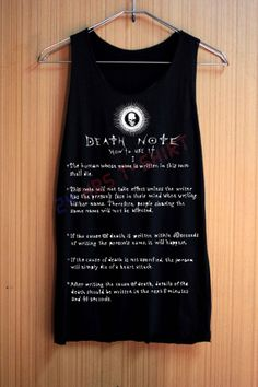 Death Note tank top the rules of the death note. I don't want it I need it.
