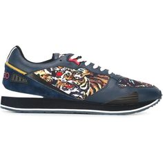 Kenzo 'Flying Tiger' sneakers ($251) ❤ liked on Polyvore featuring men's fashion, men's shoes, men's sneakers, blue, shoes, mens blue leather shoes, mens blue shoes, mens lace up shoes, mens blue sneakers and kenzo mens shoes
