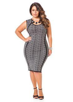 Piped Speckled Knit Dress