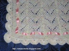 Lana e Cotone (maglia e uncinetto): Copertina a ferri Baby Knitting Patterns, Knitting Stitches, Free Knitting, Lana, Manta Crochet, Crochet Bebe, Knitted Baby Blankets, Pattern Images, Hobby