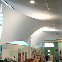 Acoustic Sails | Deanfield Primary School Fabric Structure, Coworking Space, Atrium, Skylight, Primary School, Acoustic, Sailing, Vaulted Ceilings, London