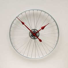 Clock made from a Recycled Bike Wheel. $119.00, via Etsy.