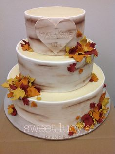 Fall Wedding Cake replacing the leaves with my own flowers and going for a rustic look