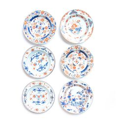A harlequin set of six 18th century blue and rust coloured side plates | Plates | Ceramics | Antiques | Robert Kime Ltd. | Antiques | Fabrics | Wallpapers | Furniture | Lighting | Carpets | Accessories |