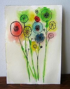 Kids love to craft cool things. So I thought I'd put together a bunch of spring craft ideas to inspire! These ideas are not only great for home projects, but are great school craft projects too. Kindergarten Art, Preschool Art, Watercolor Flowers, Watercolor Art, Simple Watercolor, Watercolor And Sharpie, Watercolor Pictures, Watercolor Portraits, Abstract Flowers