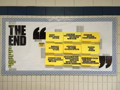 End of Year display : The End -- Can you guess the books these ending sentences belong to? (Warning: Spoiler Alert) : file folders with last sentances of novels on the cover, flip open to reveal author and book title : display at MEI Secondary Library