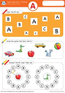 Uppercase letter A alphabet worksheet from Super Simple Learning. #preschool #phonics