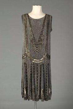 Mid-1920s, England  Beaded chiffon evening dress  Kent State University Museum