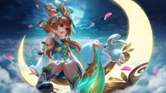 View an image titled 'Chang'e Art' in our Mobile Legends: Bang Bang art gallery featuring official character designs, concept art, and promo pictures. Bruno Mobile Legends, Miya Mobile Legends, Wallpaper Hp, Mobile Legend Wallpaper, Batman Arkham City, Batman Arkham Origins, Backgrounds Hd, Alucard Mobile Legends, Moba Legends