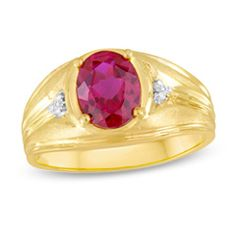 Men's Oval Simulated Ruby and Diamond Accent Ring in 10K Gold - View All Jewelry - Gordon's Jewelers