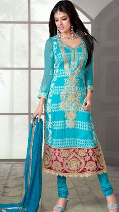 Cyan Blue Indian #Churidar #Suit For #Eid Collection #2014