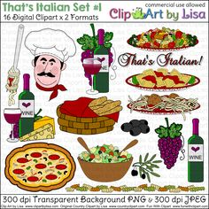Italian Clip Art Food : Vector of Italian food collection 1 vector illustration on Free Vector Art Images.