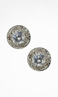 CUBIC ZIRCONIA AND PAVE STUD EARRINGS from EXPRESS