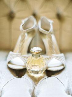 Beautiful wedding shoes + perfume.