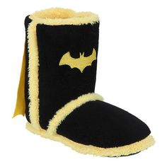 DC Comics Batman Caped Slipper Boots Hot Topic ($15) ❤ liked on Polyvore featuring shoes and slippers