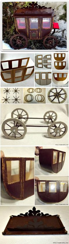 - The carriage from a cardboard. Dollhouse Tutorials, Diy Dollhouse, Dollhouse Miniatures, Miniature Furniture, Doll Furniture, Bjd Doll, Dolls, Miniature Crafts, Mini Things