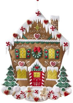 Nordic Gingerbread House Advent Calendar Felt Applique Kit to Make and Sew