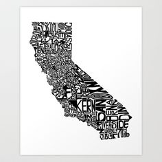 Typographic California Art Print by CAPow! - $16.00