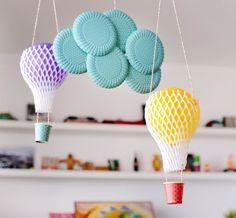 Estéfi Machado: Quem come mamão viaja de balão! * balões de bexiga e redinha de frutas