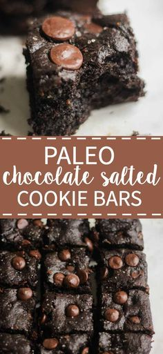 This recipe is filled with chocolate and sea salt and is the best paleo dessert. No mixer or blender required! It's filled with flavor and gluten free grain free refined sugar free and you would never know. They're the best and so easy to make! Paleo Dessert, Paleo Sweets, Gluten Free Desserts, Dessert Recipes, Dessert Bars, Healthy Treats, Healthy Desserts, Easy Desserts, Brownie Desserts