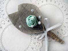 MINT GREEN Flower jute corsages knoopsgat van BrightBride op Etsy