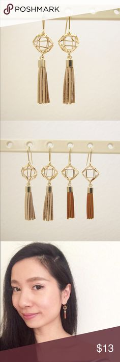 Geometric dangle tassel earrings- Beige This dangling tassel earrings are perfect accessories for your casual or formal outfits. It adds some bohemian and playful vibe to your look.  Made in Korea. Jewelry Earrings