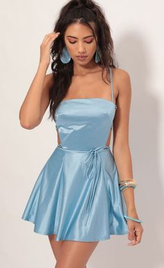 Nina Satin Cutout A-line Dress In Blue - Style: This stunning blue satin dress is a real show-stopper. Features a classy square neck - Blue Satin Dress, Satin Dresses, Elegant Dresses, Pretty Dresses, Casual Dresses, Gowns, Hoco Dresses, Dance Dresses, Homecoming Dresses