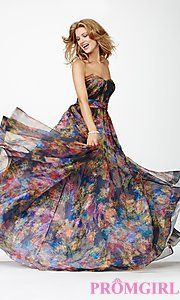 Rehearsal Dinner Dress Buy Long Strapless Print Gown JVN32622 from JVN by Jovani at PromGirl