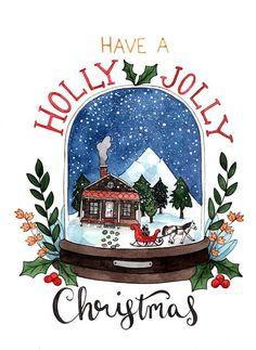 Artículos similares a Holly Jolly Christmas Box Set en Etsy Christmas Drawing, Christmas Art, Winter Christmas, Graduation Ornament, Christmas Illustration, Babies First Christmas, Christmas Traditions, Holiday Cards, Decoration
